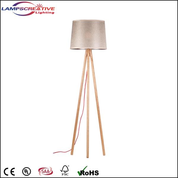 Hotel Decoration Floor Lamp Antique 3 Legs Style Wooden